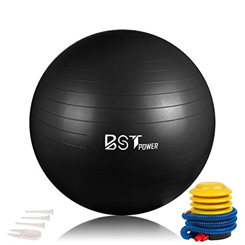 (BSTPOWER Kids Balance Ball, 45cm Non-Slip Stability Yoga Ball,Anti Burst Fitness Ball with Quick Foot Pump, Alternative Flexible Exercise Ball Chair for Active Children in Home or Classroom)