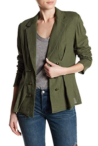 Free People Womens Open Front Linen Blend Blazer Moss Large