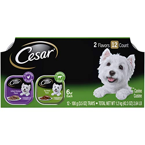 CESAR CLASSICS Variety Pack Top Sirloin Flavor & Grilled Chicken Flavor Dog Food 3.5 Ounce (Pack of 24) - Grilled Chicken Flavor