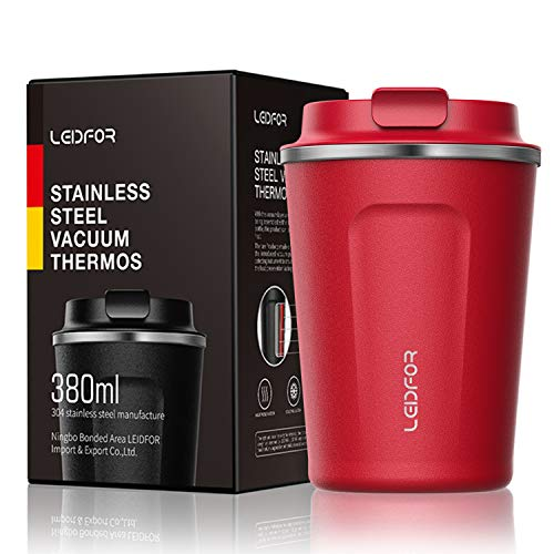 Leidfor Insulated Tumbler Coffee Travel Mug Vacuum Insulation Coffee Thermos Stainless Steel with Screw on Lid Leak proof 12 oz RED