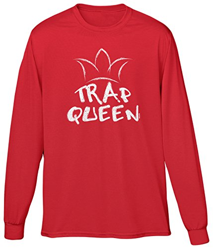 Blittzen Mens LS Trap Queen, S, Red (Muic Christmas)