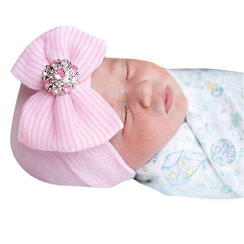 evelin-lee-newborn-baby-girl-cute-pretty-bow-flower-pearl-hospital-hat-pink