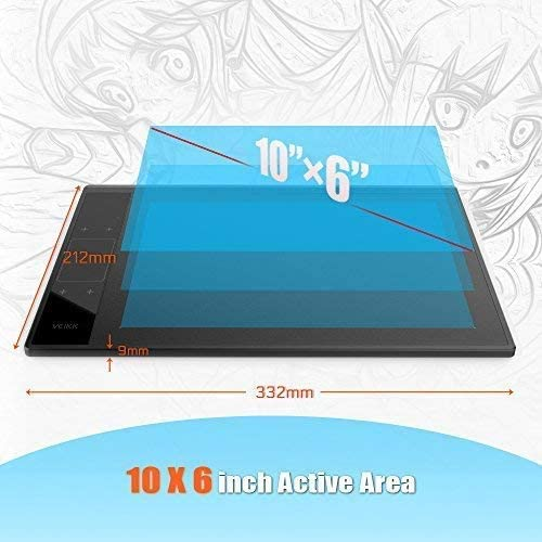 VEIKK Tablette de Dessin A30 V2 Tablette /à Stylet Graphique 10x6 Pouces avec Stylo Passif /à 8192 Niveaux Compatible avec Le syst/ème Windows Mac Android