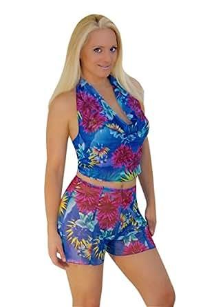 Hawaiian Blue Mesh Drape Swimwear Coverup Top (ONE SIZE