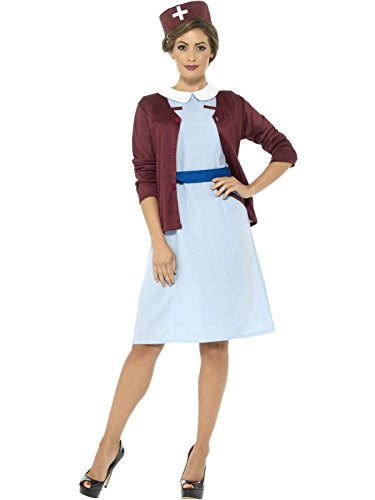 Smiffy's Women's Vintage Nurse Costume, Blue, (1940's Womens Costumes)
