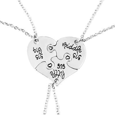 Little Middle Big Sister Heart Crystal Charm Chain Necklace for 3