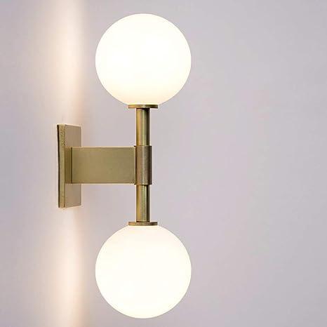 Injuicy Globus Glazen Wandlamp Satijn Messing Met Matglas Bolwandlampen Voor Bed Hal Gang Trappenhuis Woonkamer 2 Lampen Amazon Nl