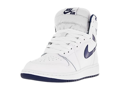 Nike Heren Air Jordan 1 Mid Basketbalschoen Wit / Midnight Navy
