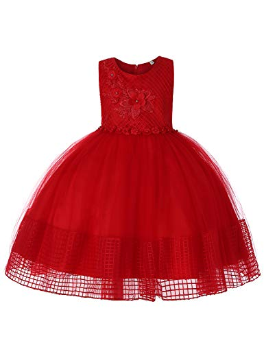 Blevonh Tea Party Dresses for Girls Kids Boutique Dress Round Neck Sleeveless Lace 3D Embroidered Bedecked Comfortable Ruffle Breathable Skin-Friendly Skirt Red 110(3-4 Years) ()