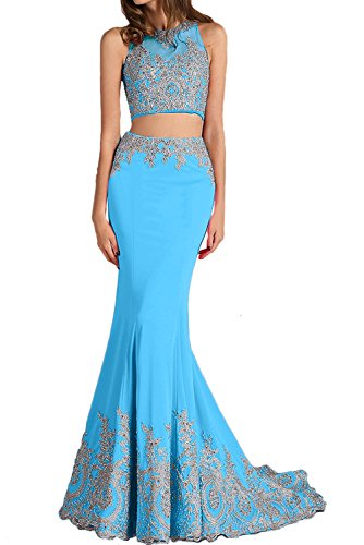 Blau Zweiteil Lang Meerjungfrau Sexy Partykleider Abendkleider Promkleider Stickrei Ivydressing Neu Damen 0vXnn