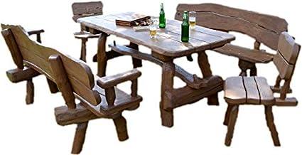 Amazon De Rustikale Gartengarnitur Aus Massivholz Gartenmöbel Aus Eichen Und Akazienholz Sitzplätze Ca 8 Personen Tisch 2 Bänke 2 Stühle