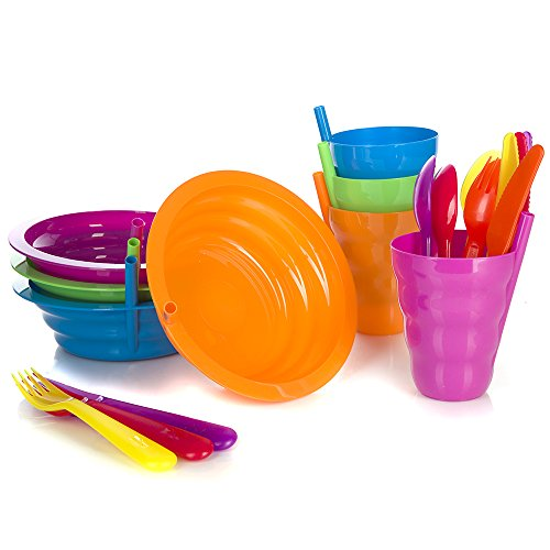 Arrow Sip-A-Bowl + Arrow Sip-A-Cup With Built In Straw + Kids Cutlery Set of a Fork Knife and Spoon | 4 Place settings | BPA Free and Dishwasher Safe | 20 Piece Bundle by Arrow (Image #2)