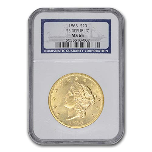 1865 $20 Liberty Gold Double Eagle MS-65 NGC (SS Republic) G$20 MS-65 NGC