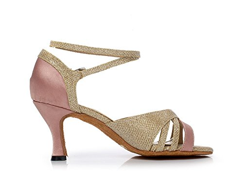 LEIT YFF Female Waltz Modern Dancing Shoes Tango Shoes Latin High Heel 6/7.5/8.5cm,Pink 75mm,9.5