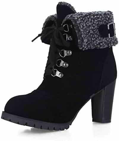 2ac04aa09 VIMISAOI Women's Pu Winter Warm Bootie - Lace up Round Toe Thick Heel  Little Platform Ankle