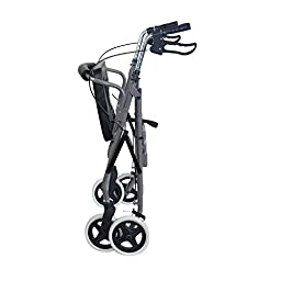 Duro-Med Lightweight Extra-wide Aluminum Rollator Walker with Seat, Titanium, Folding
