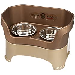 Neater Feeder Deluxe Large Dog (Bronze) - The Mess Proof Elevated Bowls No Slip Non Tip Double Diner Stainless Steel Food Dish with Stand