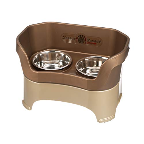 Neater Feeder Deluxe Large Dog (Bronze) - The Mess Proof Elevated Bowls No Slip Non Tip Double Diner Stainless Steel Food Dish with Stand ()