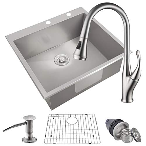 "MOWA HMT2522 25"" x 22"" Pro Series Handmade 16 Gauge Stainless Steel Top Mount Drop In Single Bowl Kitchen Sink w/Sink Bottom Grid, Basket Strainer, Brushed Nickel Pull-down Faucet & Soap Dispenser"