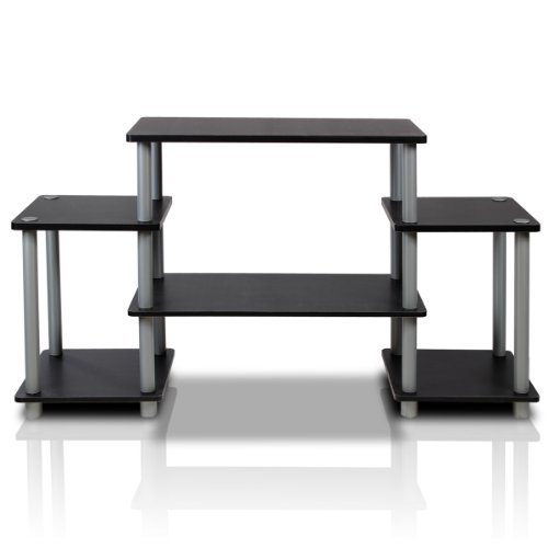 Traditional Wide Tv Stand - Furinno 11257BK/GY Turn-N-Tube No Tools Entertainment TV Stands, Black/Grey