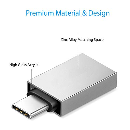USB C to USB 3.0 Adapter USB C to A Male to Female Adapter, Compatible with MacBook 2018 2017 2016, Samsung Galaxy Note 8, Galaxy S8 S8+ S9, Google Pixel, Nexus, (Silver)
