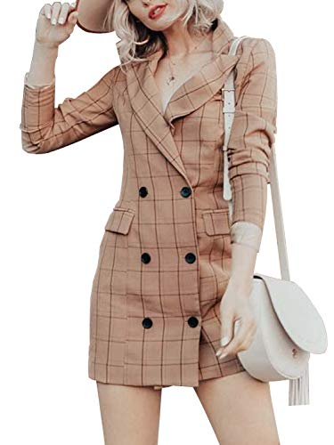 Trench Mini - Sollinarry Women's Plaid Long Sleeve Mini Blazer Dress Double Breasted Trench Coat with Pockets Khaki 4/6