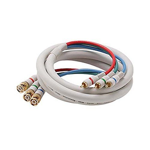 6' FT Python 3-RCA HDTV 3-BNC Male Component Cable Ivory Audio Video Gold RGB Y/Pr/Pb Pro Grade Color Coded Double High Density Shield RCA - BNC Digital Signal Jumper
