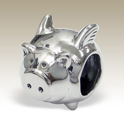 Flying Pig Charm, Pig with Wings, 925 Sterling Silver for Charm Bracelet ()