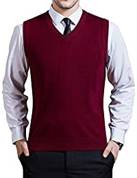 Men's V-Neck Solid Knitwear Vest Sleeveless Knitting