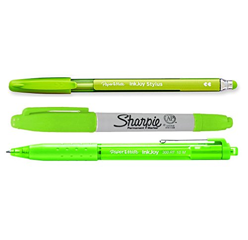 (Paper Mate Inkjoy Stylus Lime Green Pen, Inkjoy 300 RT Lime Green Ballpoint Pen and Sharpie Lime Green Twin Tip Fine and Ultra Fine Bundle)