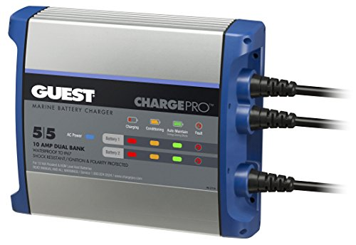 Guest 2711A ChargePro On-Board Battery Charger 10A / 12V, 2 Bank, 120V Input (Charger Guest Battery)