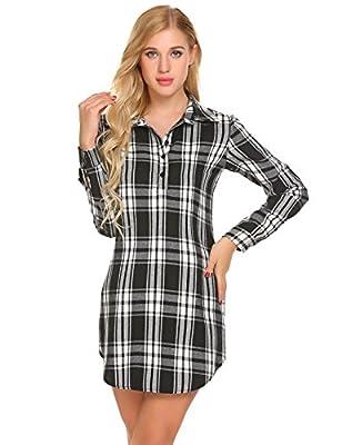 Baguet Women Plaid Sleepshirt Turn Down Collar Long Sleeve Slim Lounge Sleepwear