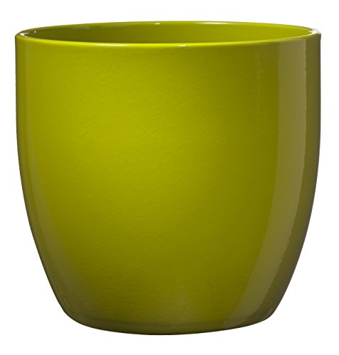 - SK Ceramics Made in Germany Soendgen Keramik Ceramic Basel Full Color Line Pot/Planter, Medium, Shiny Lime