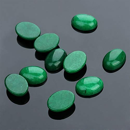Calvas Selectable Size 5PCS/lot Oval Green Jades CAB cabochon Beads for Jewellery Making Beads Ring Pendant DIY Beads Trinket Gift - (Color: Green Jade, Item Diameter: 12x16mm)