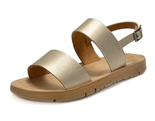 DREAM PAIRS Women's GREEK-05 Gold Platform Wedge Flat Sandals - 8.5 M (Prom Platform Sandals)