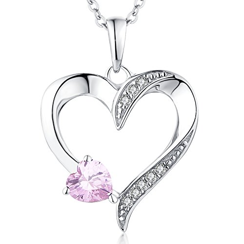 Cubic Zirconia Gold Plated Necklace (Heart Shaped Pendant Necklace-YL Sterling Silver CZ Pink Love Mother Heart Necklace White Gold Plated)
