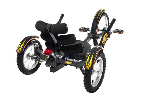 Mobo Cruiser Mobito Ultimate Three Wheeled Cruiser, Black, 16-Inch