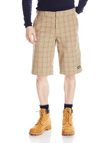 - Dickies Men's 13 inch Regular Fit Short, Desert Sand/Pebble Brown Plaid, 34