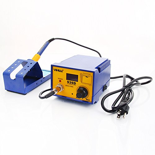 (YiHUA-939D 60W Constant-temperature Soldering Station Soldering Iron with Air Nozzle and IC Puller Blue & Black (5.51