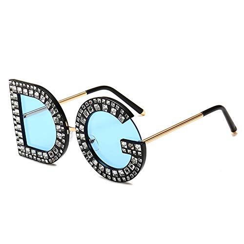 - Retro DG Letter Sunglasses UV400 Protection Vintage Crystal Trim Jeweled Frame Costume Glasses For Women/Girls