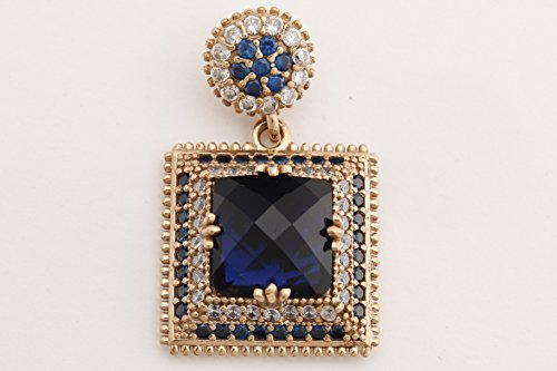 Turkish Handmade Jewelry Square Shape Sapphire and Round Cut Topaz 925 Sterling Silver Pendant