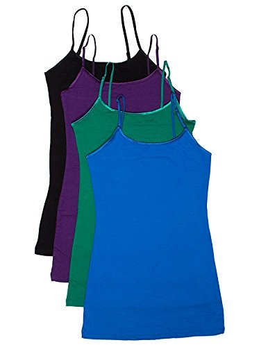 4 Pack: Active Basic Cami Tanks (Large, Purple/Blue/Green/Black)