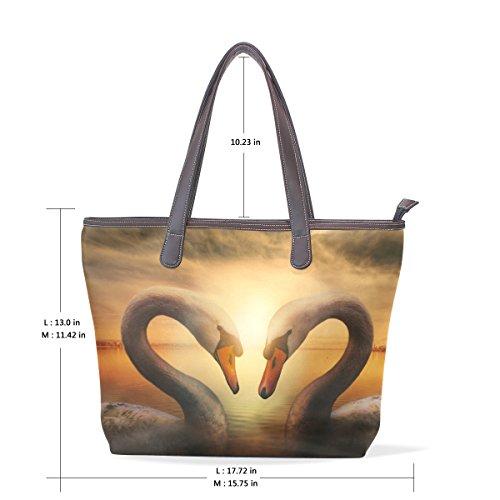 Coosun Womens Cigni Uccelli Simbolo Di Amore Pu Cuoio Grande Shopping Bag Maniglia A Tracolla