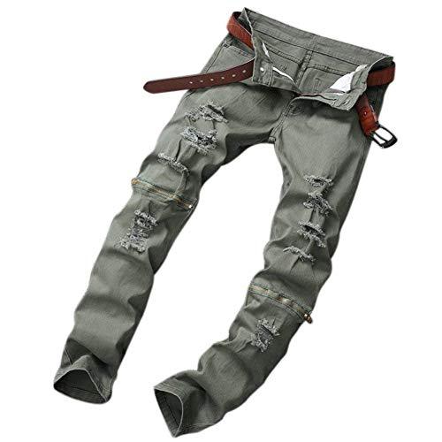 A Casual Slim Armeegrün Estilo Pantaloni Con In E Dritta Chiusura Denim Zip Buchi Strappati Uomo Da Especial Gamba Chern Jeans Fit xIwCBOUqC