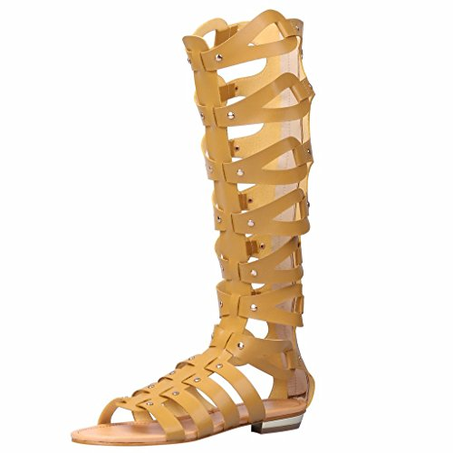 Summer High Camel Boots Cut fereshte Out Gladiator Sandals Flat Knee Women's nY7q7HP