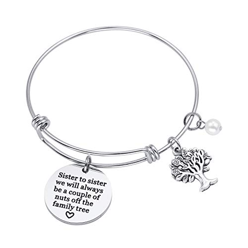 Sunflower Jewellery Charm Bracelet Gift for Sister to Sister We Will Always Be A Couple of Nuts Off The Family Tree