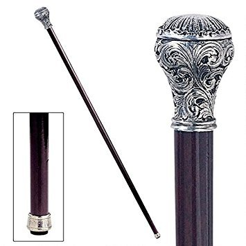 Design Toscano Ornate Ball Walking Stick, 35 Inch, Pewter Handle and Hardwood Cane, Silver