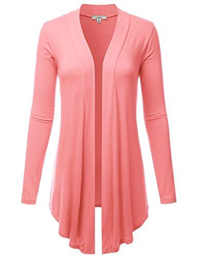 LALABEE Women's Draped Open-Front Long Sleeve Light Weight cardigan-ROSEPINK-2XL ()