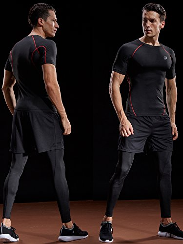 Neleus Men's 3 Pack Compression Baselayer Athletic Workout T Shirts,5022,Black,Black(red),Grey,US M,EU L