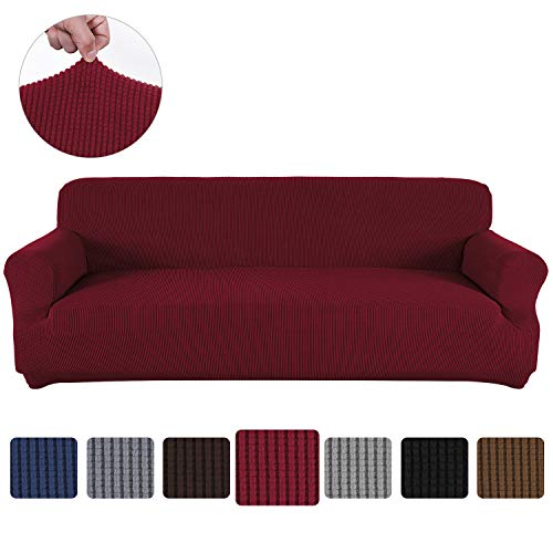 Obstal Stretch Spandex Sofa Cover, 3 Seat Couch Covers for Living Room, Anti-Slip Sofa Slipcover with Elastic Bottom, Burgundy Sofa Couch Coverings Furniture Protector for Dogs, Cats, Pets, and Kids